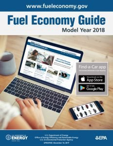 Front cover of the 2018 Fuel Economy Guide from FuelEconomy.gov.