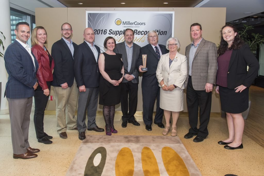Time Transport in May 2017 received the 2016 Regional Logistics & Transportation Supplier of the Year Award from MillerCoors. Pictured are multiple officials from both MillerCoors and Time Transport, Inc.