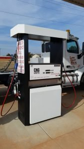 The TGT (Tulsa Gas Technologies) dispenser in use at the station.