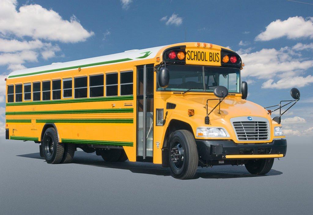 A Blue Bird Vision bus powered by Liquefied Propane Gas (LPG).