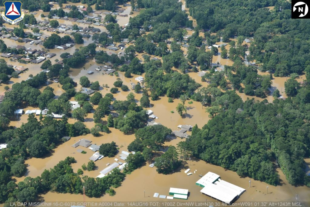 Aerial photo of the flood courtesy of the Civil Air Patrol.