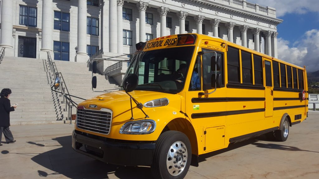 A new CNG school bus that was shown during the event.
