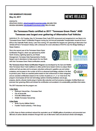 TN Green Fleets Press Release - 5-24-17