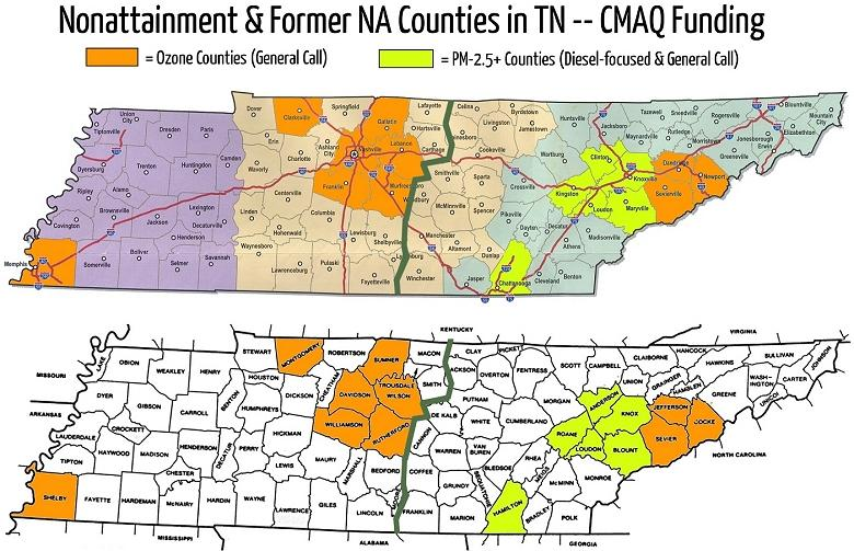 Former nonattainment counties in Tennessee